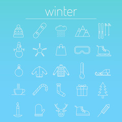 Set of winter icons. Line. Holidays.