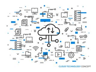 Web cloud storage vector illustration on colorful background. Web cloud technology graphic design. Remote file storage creative concept. Line data storage application concept.