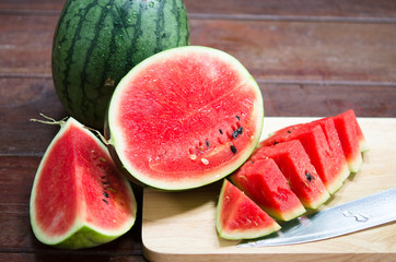 Fresh red watermelon ready to eat