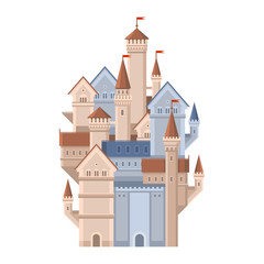 Castle. Magic Fairy Tale Building with Red Flags. Vector