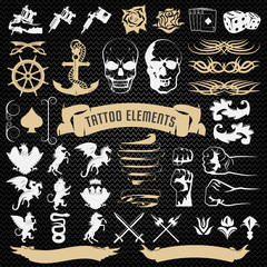 Tattoo Elements Decorative Icons Set