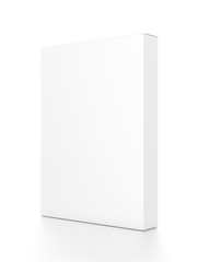 White thin vertical rectangle blank box from side angle. 3D illustration isolated on white background.