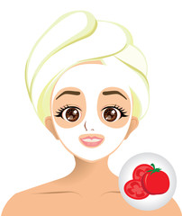 Vector of girl facial mask with tomato slice mask
