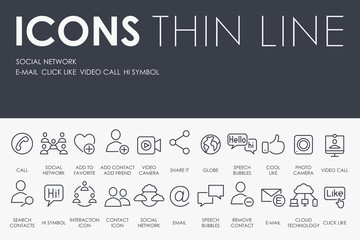 Social Network Thin Line Icons