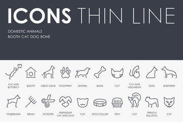 Domestic Animals Thin Line Icons