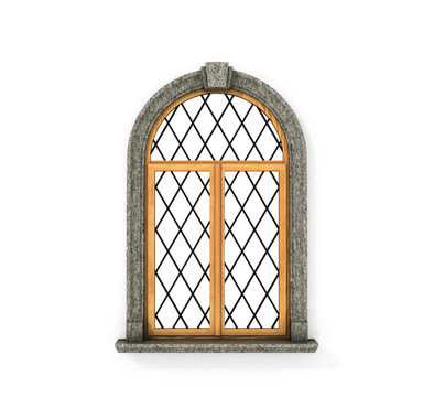 Ancient wooden window. Castle window isolated on a white backgro