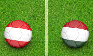 Team balls for Austria vs Hungary football tournament match, 3D rendering