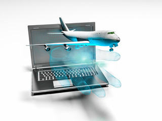 plane taking off from the laptop hand, 3d render