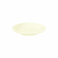 Empty white plate icon in cartoon style