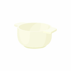 Empty white bowl with two small handles icon