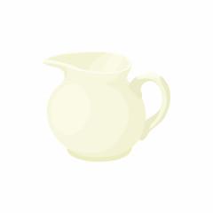 White porcelain milk jug icon, cartoon style