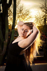 Beautiful Blond Posing At Sunset