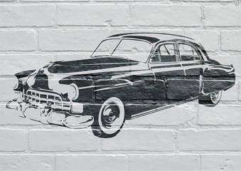 Art urbain, voiture américaine vintage
