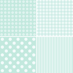 Set of four cute blue backgrounds