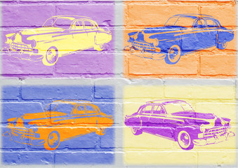 Art urbain, voiture américaine vintage inspirée du pop art