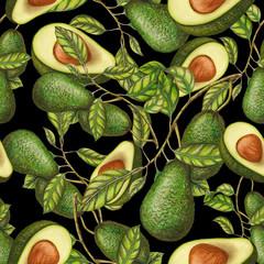 Hand drawn avocados on dark background, seamless pattern