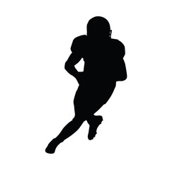 American football player running with ball. Quarterback vector s