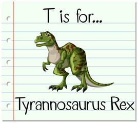 Flashcard letter T is for Tyrannosaurus Rex