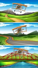 Three scenes of airplanes flying in sky