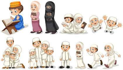 Muslim people in different actions