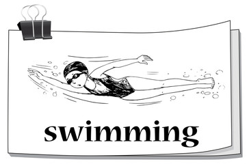 Doodle athlete swimming underwater