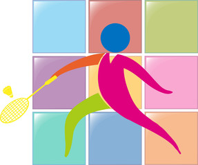 Sport icon design for badminton in colors