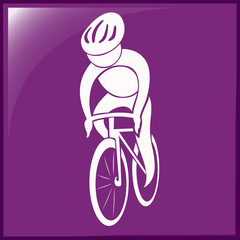 Sport icon design for cycling on purple