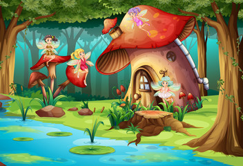Fairies flying around mushroom house