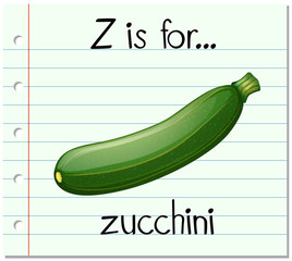 Flashcard letter Z is for zucchini