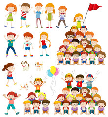 Children and human pyramid