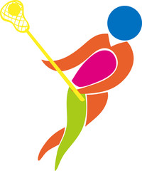 Sport icon design for lacrosse in color