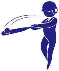 Sport icon design for baseball in blue