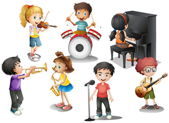 Kids playing different instruments
