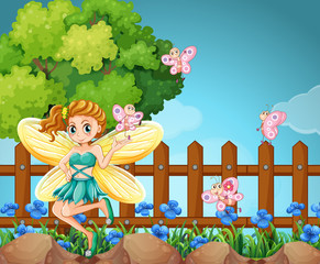 Fairy and butterflies in the park