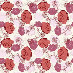 Vector beautiful background with vintage roses.