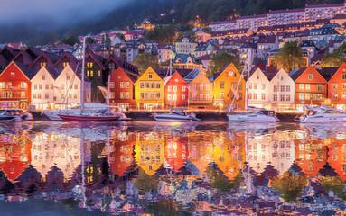 Garden Poster Scandinavia Famous Bryggen street in Bergen, UNESCO World Heritage Site, Norway