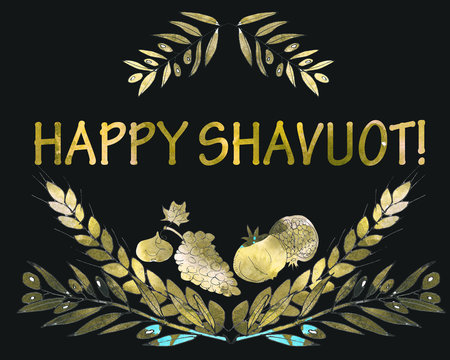 Watercolor Shavuot festival greeting card. Gold background. Olive brunches, pomegranates, figs, grapes, wheat stalks traditional for Jewish Shavuot holiday.