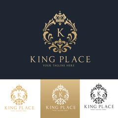 King Place Logo. Royal Brand Logo,Crown logo,Lion Logo,Crest logo,Vector logo template