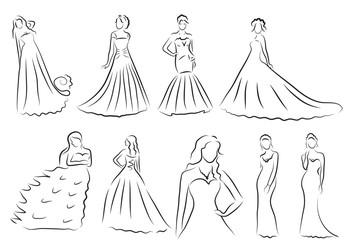 Bride Silhouette set, Sketch bride, the bride in a beautiful wedding dress, vector