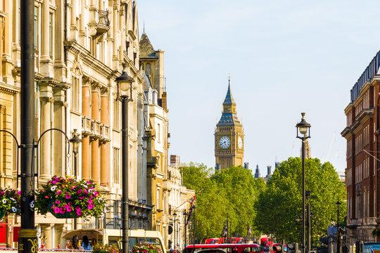 View of Big Ben from Trafalgar Square, London