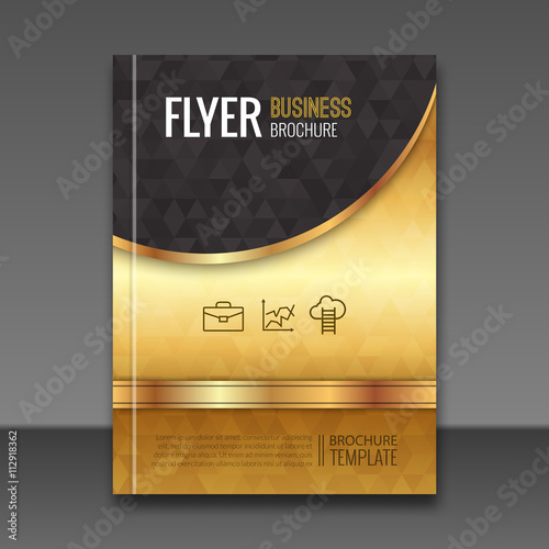 Golden background flyer template luxury brochure book for Luxury brochure template