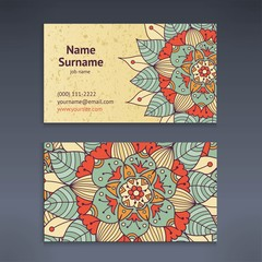 Vintage business and visiting card with floral mandala pattern