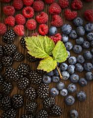 raspberries and blackberry