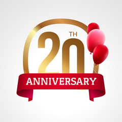 Celebrating 20th years anniversary golden label with ribbon and balloons, vector template