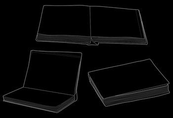 group of three book sketches isolated on black