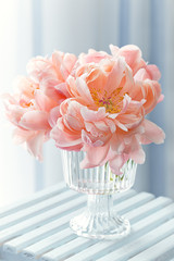 Beautiful bouquet of flowers.Close-up floral composition with a peonies .