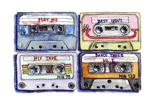 Watercolor illustration of tape cassettes