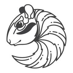 Chipmunk head line vector logo.