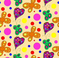 Seamless pattern with butterflies and hearts
