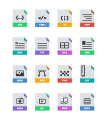 Flat colorful vector file format icons set isolated on white, document type flat icons. File format icons with images. File format label icons for web and mobile application. Flat file types icons